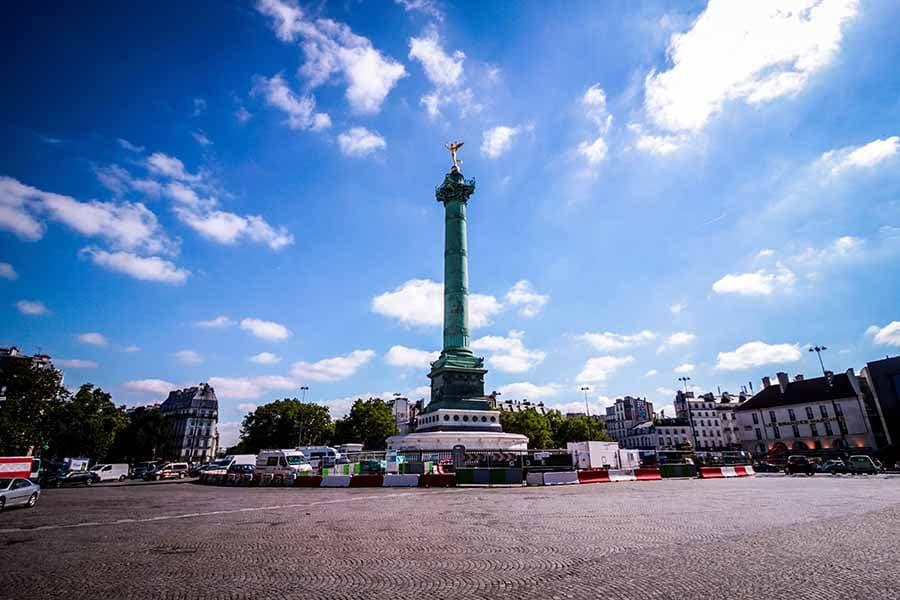 place de la bastille et la colonne de Juillet, pas de voiture, ciel bleu et soleil