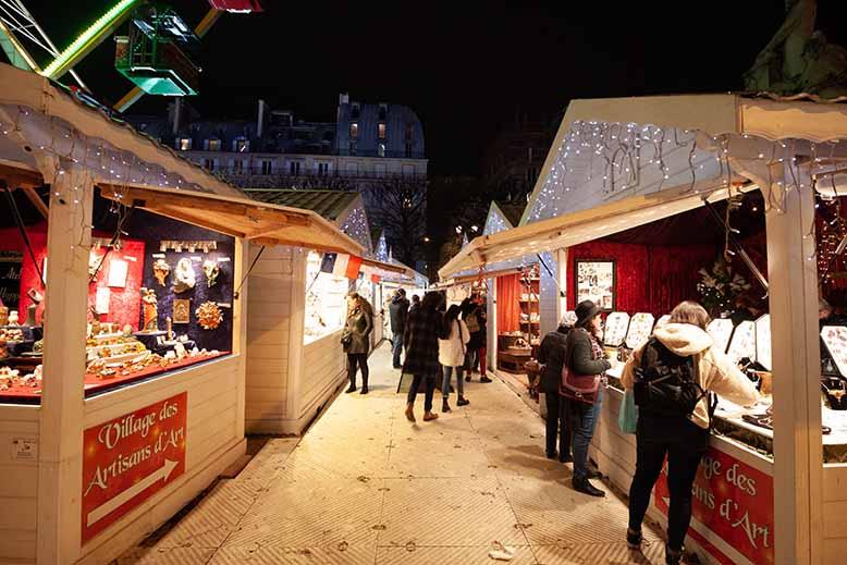 marché de noel vente fete nuit blanc neige