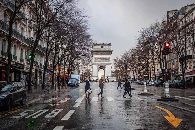 Avenue de wagram sous la pluie avec vue sur l'arc de triomphe en arrière plan