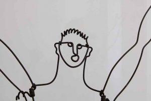 Exposition temporaire Calder-Picasso au musée Picasso à Paris- figure d'un homme en fil de fer